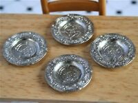 Set Of Four Pewter Plates / Platters, Dolls House Miniatures, Tudor, Dining