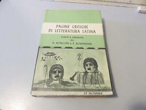 Páginas Críticas Por Letteratura Latina Ronconi Y Bornmann - Le Monnier 1969