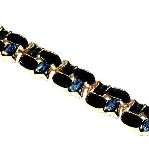 Bien Bracelet Chic Couleur Or émail Noir Et Bleu 20cm Bijou Necklace
