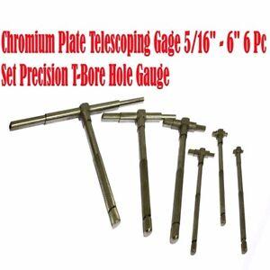 """6Pc Precision Telescoping Gage Set 5//16/"""" 6/"""" Range T-Bore Hole Gauges w// Pouch"""