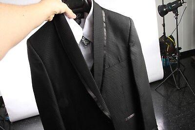 Boy Toddler Teen 5pc Wedding Formal Black Tuxedo Suit w//Trim w//Vest sz 2-20