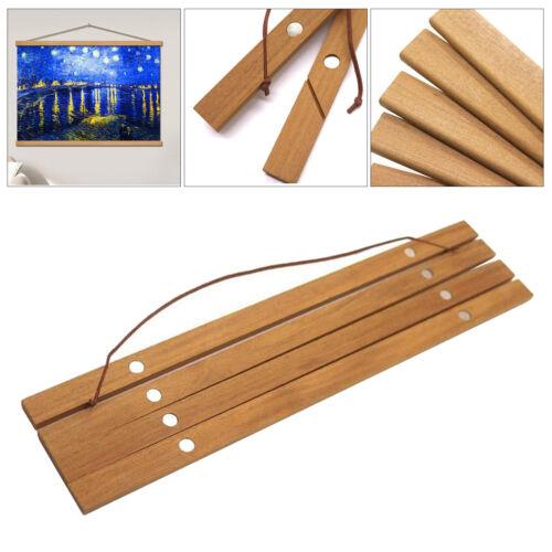 4pcs Magnetic Poster Hanger Frame Teak Wooden Hanger Frame Natural Painting