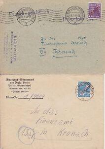Berlin-MI-Nr-22-26-je-EF-2-Briefe-beide-gel-Berlin-Kronach-1949
