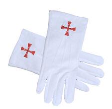 Masonic Order of the Red Cross Symbol White Gloves - Knights Of Templar Regalia