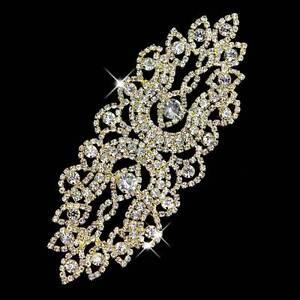 1-Pc-Clear-Rhinestone-Crystal-Craft-Dress-Wedding-Applique-Motif-Bridal-DIY-NEW
