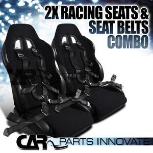 JDM-Black-Cloth-PVC-Reclinable-Racing-Bucket-Seats-Pair-w-Camlock-Belt-Harness
