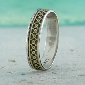 Band-Vintage-Two-Tone-Solid-9k-Yellow-Gold-And-925-Sterling-Silver-Ring-Size