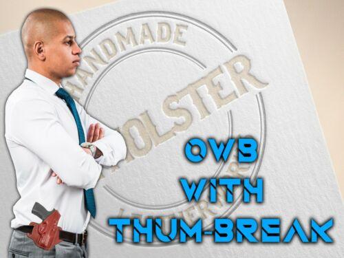 OWB Thumb Break Leather Belt Holster fits GLOCK 43X