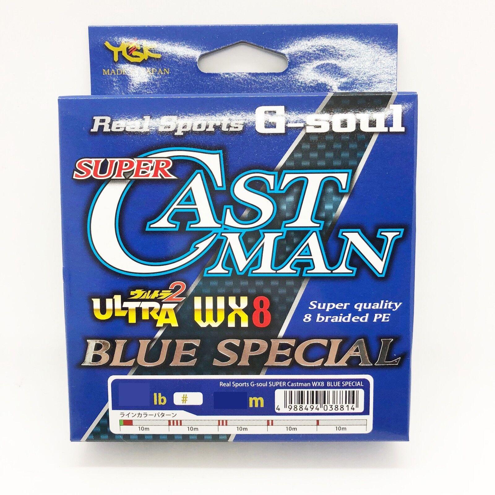 YGK SUPER CASTMAN CASTMAN CASTMAN WX8 blu SPECIAL 8 Braided Line 200m 300m Select LB 116306