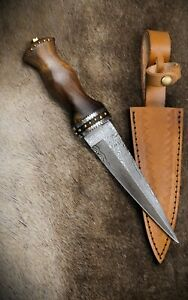 DM1076-Scottish-SGIAN-DUBH-DAMAS-256-Layers-Brown-Rosewood-Handle-Leather-Sheath