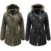 Womens Military Style Parka Coat Ladies Jacket with Faux Fur Hood 8-16