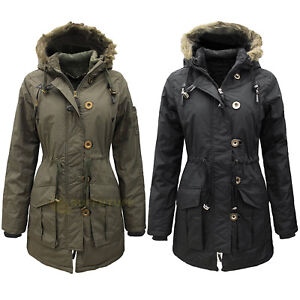 Womens Military Style Parka Coat Ladies Jacket with Faux Fur Hood ...