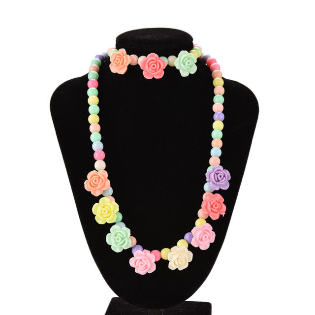 Colorful Beads Necklace Bracelet Set Baby Girls Jewelry Good gift Rose FO