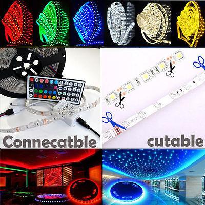 3528 5050 5M 300 Leds SMD LED Strip Tape Roll Cool White RGB DC 12V Adapter Kit