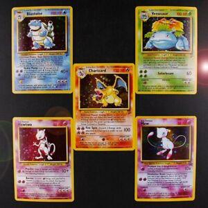 Pokemon-Charizard-Blastoise-Venusaur-Mewtwo-MEGA-Flash-Cards-5pcs-lot