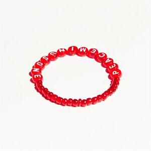 Détails sur Kpop BIGBANG GD peaceminusone Red Amber Bracelet PMO Lucky Chain afficher le titre d'origine