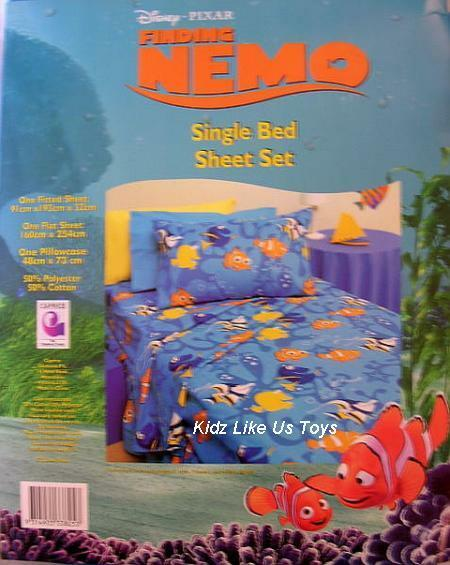 Finding Nemo - SINGLE BED FITTED & FLAT + PILLOW CASE SHEET SET Twin