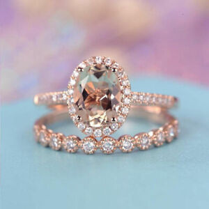 18K-Solid-Rose-Gold-Morganite-Gemstone-Ring-Set-Women-Wedding-Jewelry-Sz5-10-HOT