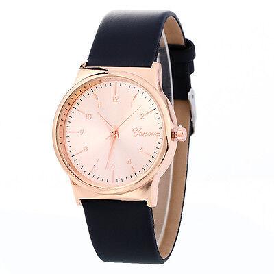 Simple Fashion Men Women Watch Rose Gold Dial Leather Analog Quartz WristWatch