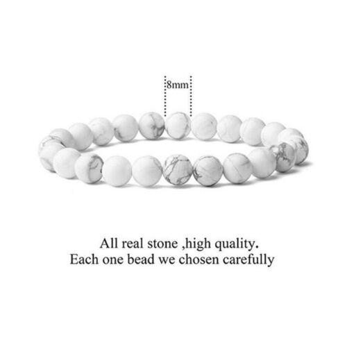 Bead Bracelet White Howlite Natural Stone Healing Calming Stretch 8mm Dia