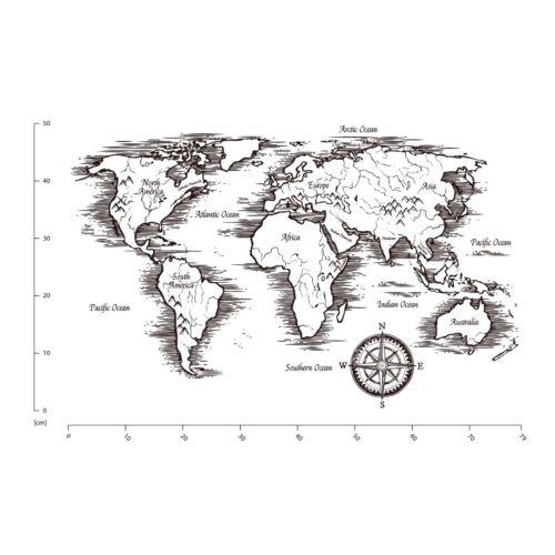 Vintage Black /& White World Map Wall Sticker WS-51369