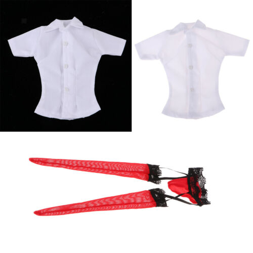"MagiDeal 1//6 Shirt /& Garter Stockings Clothes for 12/"" Female Action Figures"