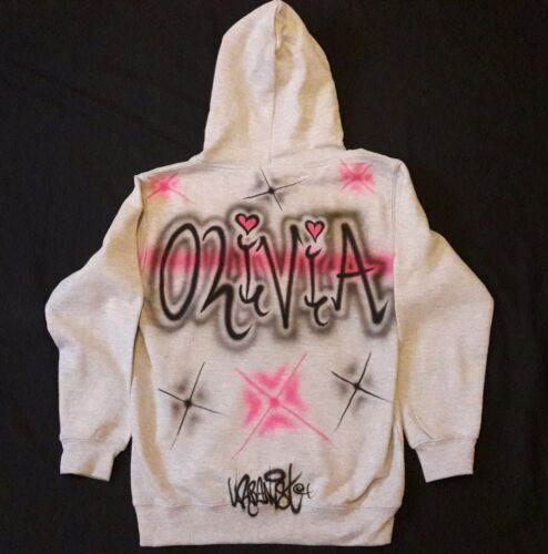 Street Dance personalised Kids airbrushed grey hoodie Urbanist Graffiti HipHop