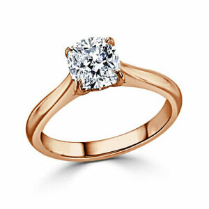 1.00 Ct Cushion Moissanite Anniversary Ring Solid 18K Rose Gold ring Size 7 8