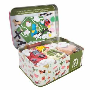 FARM-IN-A-TIN-Apples-to-Pears-Kids-Wooden-Animal-Toys-Gift-Play-Set-NEW