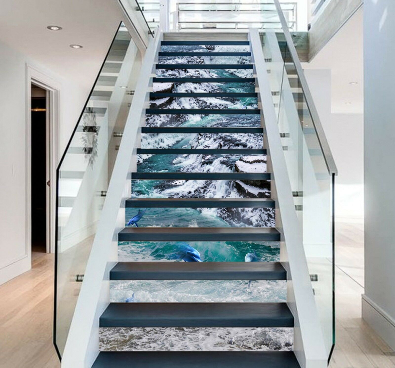 3D Waves Dolphhin Stair Risers Decoration Photo Mural Vinyl Decal Wallpaper CA