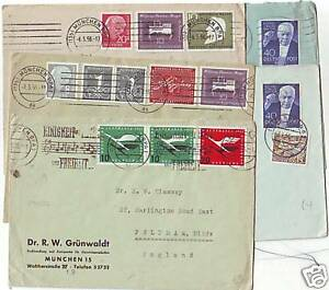 ! 1950s GERMANY 5 x COMMERCIAL COVERS MUSIC STAMPS TO MIDDLESEX & SURREY UK