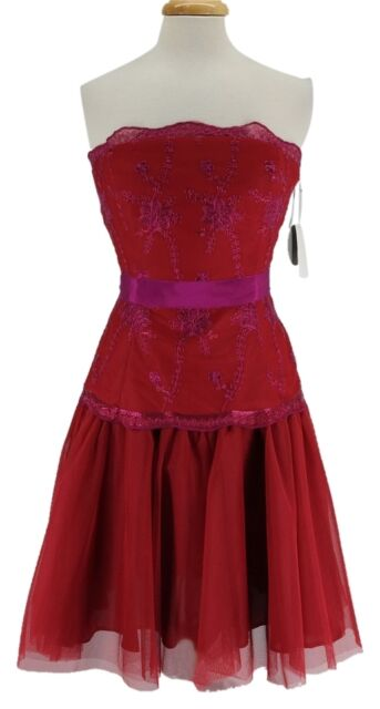 PEARL GEORGINA CHAPMAN OF MARCHESA Red STRAPLESS DRESS -  SIZE 8