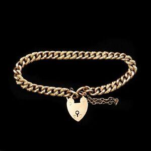 Antique-Victorian-Heart-Padlock-Fancy-Curb-9ct-9K-Gold-Bracelet-Circa-1890