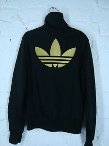 Adidas-Originals-Women-039-s-Track-Top-Jacket-Big-Logo-Black-Gold-Size-36