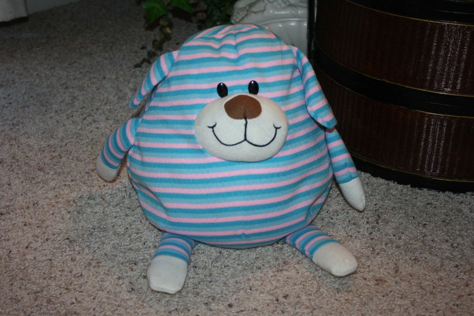 Jay at Play Belly MUSHABLE Pot Belly Play Puppy Dog Pink Blau Microbead Pillow Toy 11x9
