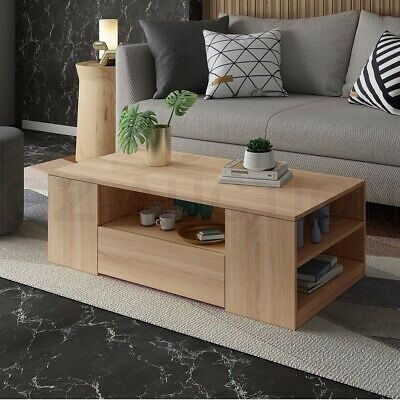 Modern Coffee Table Oak Finish Wood Furniture With Storage Drawers