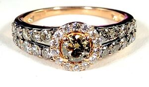LE-VIAN-14K-ROSE-GOLD-87-CTW-NATURAL-CHOCOLATE-amp-WHITE-DIAMOND-HALO-RING-SZ-7