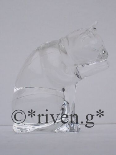 CAT Figurine@PREMIUM CRYSTAL Glass PUSSY CAT@KITTEN Gift@KITTY CLEANING HER PAWS
