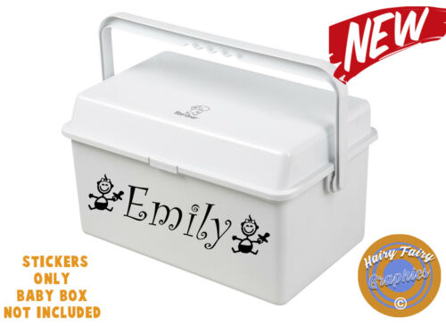 2 PERSONALISED NAME VINYL STICKER DECAL FOR BABY CHANGING BOX BOYS GIRLS KIDS