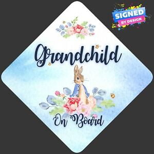 Non-Personalised-Child-Baby-On-Board-Car-Sign-Peter-Rabbit-Grandchild-On-Board