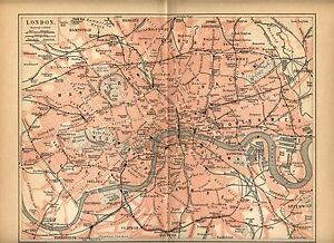 Londra Cartina.1893 Londra Inghilterra London England Antica Mappa Topografica Old Map Ebay
