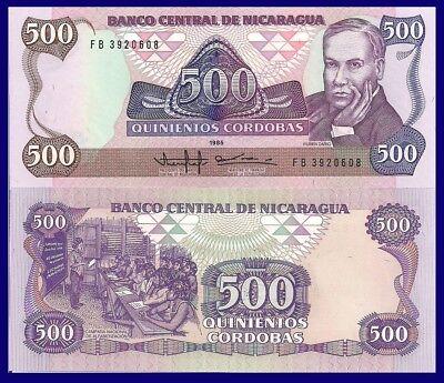 Poet Ruben Dario / Klassenzimmer Szene Unc Catval Convenience Goods 500 Cordoba Nicaragua P155