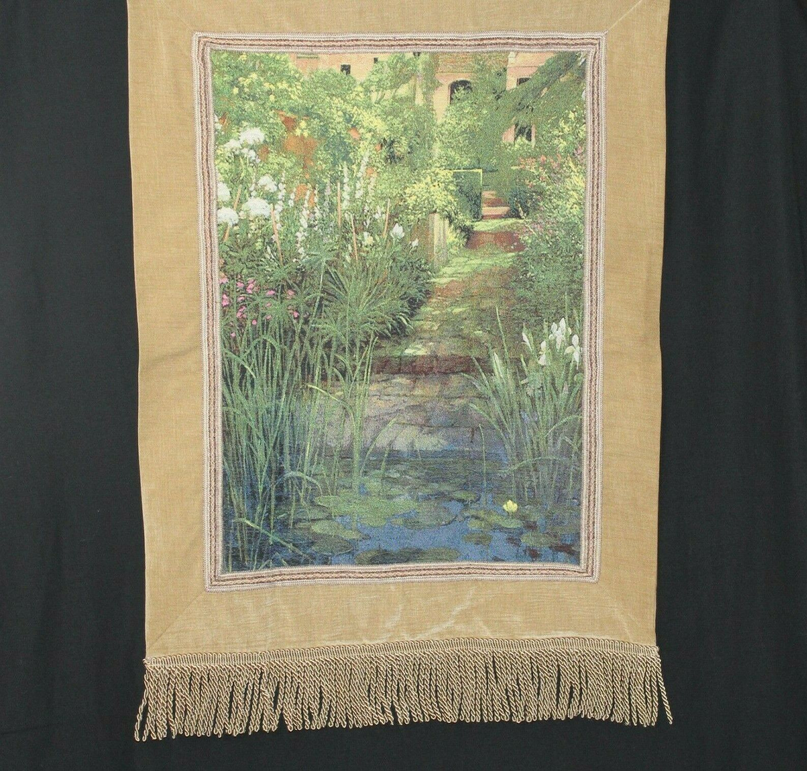 Steps To The Lily Pond Tapestry Wall Hanging Grünical 35  X 50  Manual Woodwork