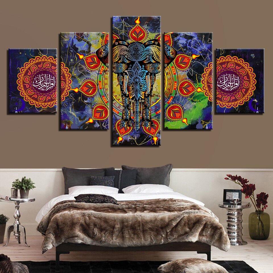 Indian Elephant God Ganesha Painting 5 Panel Canvas Print Wall Art Home Decor