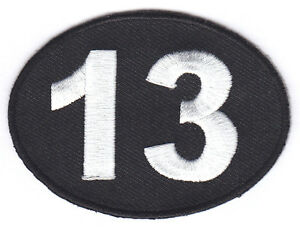 THIRTEEN-NUMBER-13-BIKER-LUCKY-UNLUCKY-BLACK-w-WHITE-Iron-On-Embroidered-Patch