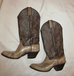 33fc6f20b5a Rare vintage JUSTIN taupe eel skin and brown leather cowboy cowgirl ...