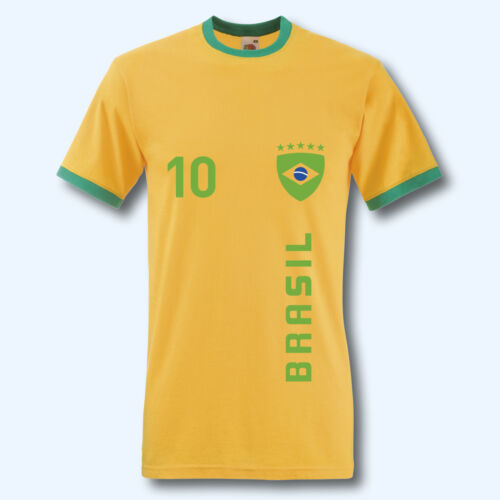 Ringer T WM Brasilien Brasil T-Shirt Trikot Retro-Shirt Ziffer Wunschname