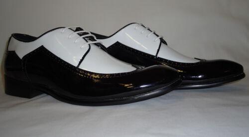 Harlem Knights 6262 NYE Party Shoes Shiny Patent Black /& White Wingtip Spectator