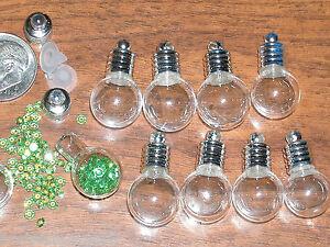 10 Lot Round Glass bottle Pendant Vials charm necklace