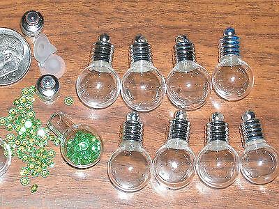 10 Lot Round Glass bottle Pendant Vials charm necklace*